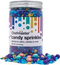 ChefMaster: Magic Candy Sprinkles - Premium Candy Rainbow Sprinkles with Metallic Stars, Crisp Jimmies and Large Sugar Pearls - 8oz. - For Cookies, Cake Decorations, Ice Cream, Cupcakes and Donuts