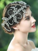Yean Wedding Headband Bling Rhinestones Bridal Hair Vine Accessories for Bride and Bridesmaid (Silver)