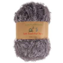 JubileeYarn 100g Soft Touch Fuzzy Fur Yarn, Smoke Grey 4 Skeins