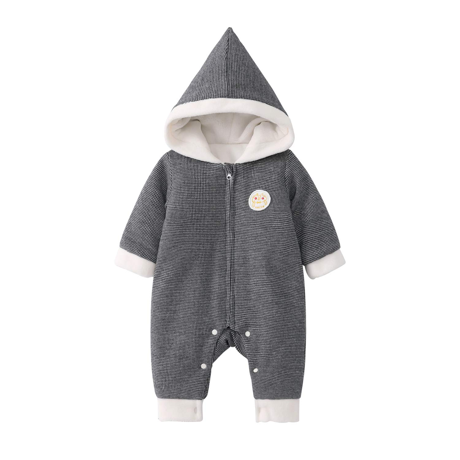 pureborn Baby Hooded Quilted Cotton Lined Winter Thick Jumpsuit Unisex Cartoon