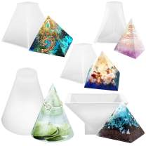 FUNSHOWCASE Assorted Pyramid and Cone Prism Resin Epoxy Mold for Jewelry, Polymer Clay, Soap Making, Cabochon Gemstone Crafting Projects 5-Count