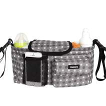 Damero Stroller Organizer Buggy Buddy Pram Storage Bag with Adjustable Straps and Magic Tapes Closure Flap, Easy Access and Install, Great for Baby Shower Gift, Gray Dots
