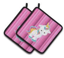 "Caroline's Treasures Pink Stripes Unicorn Pair of Pot Holders, 7.5 x 7.5"", Multicolor"