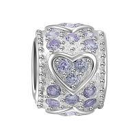 SOUFEEL Light Purple Swarovski Crystal Heart Charm 925 Sterling Silver Charms For European Bracelets Women Gifts