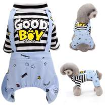 Brocarp Dog Jumpsuit, Striped Puppy Pajamas, Cute Doggie Kitten Onesies Pjs Jumpers, Soft Cotton Shirt, 4 Legs Apparel Pet Clothes Outfits for Small Medium Large Dogs Cats Kitty Boy Girl (Blue, XL)