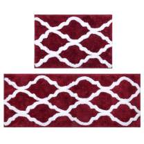 "Pauwer Geometric Non Slip Bath Rug for Bathroom Microfiber Bathroom Rug Water Absorbent Machine Washable (18""x26""+18""x47.2""Set of 2, Burgundy)"