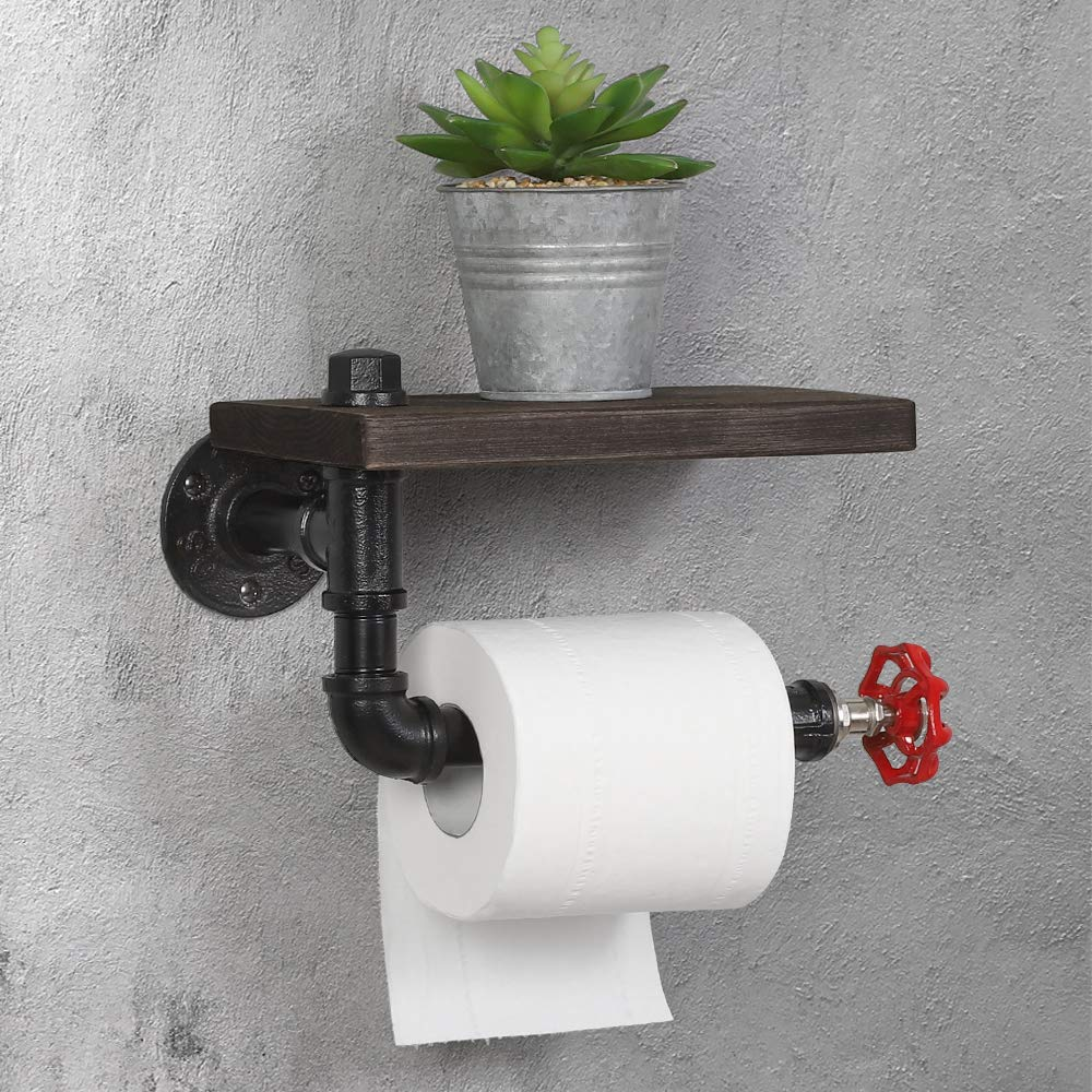HAITRAL Toilet Paper Holder - Industrial Tissue Roll Rack for Bathroom, Washroom, Home with Rustic Wooden Shelf and Iron Metal Pipe, Black