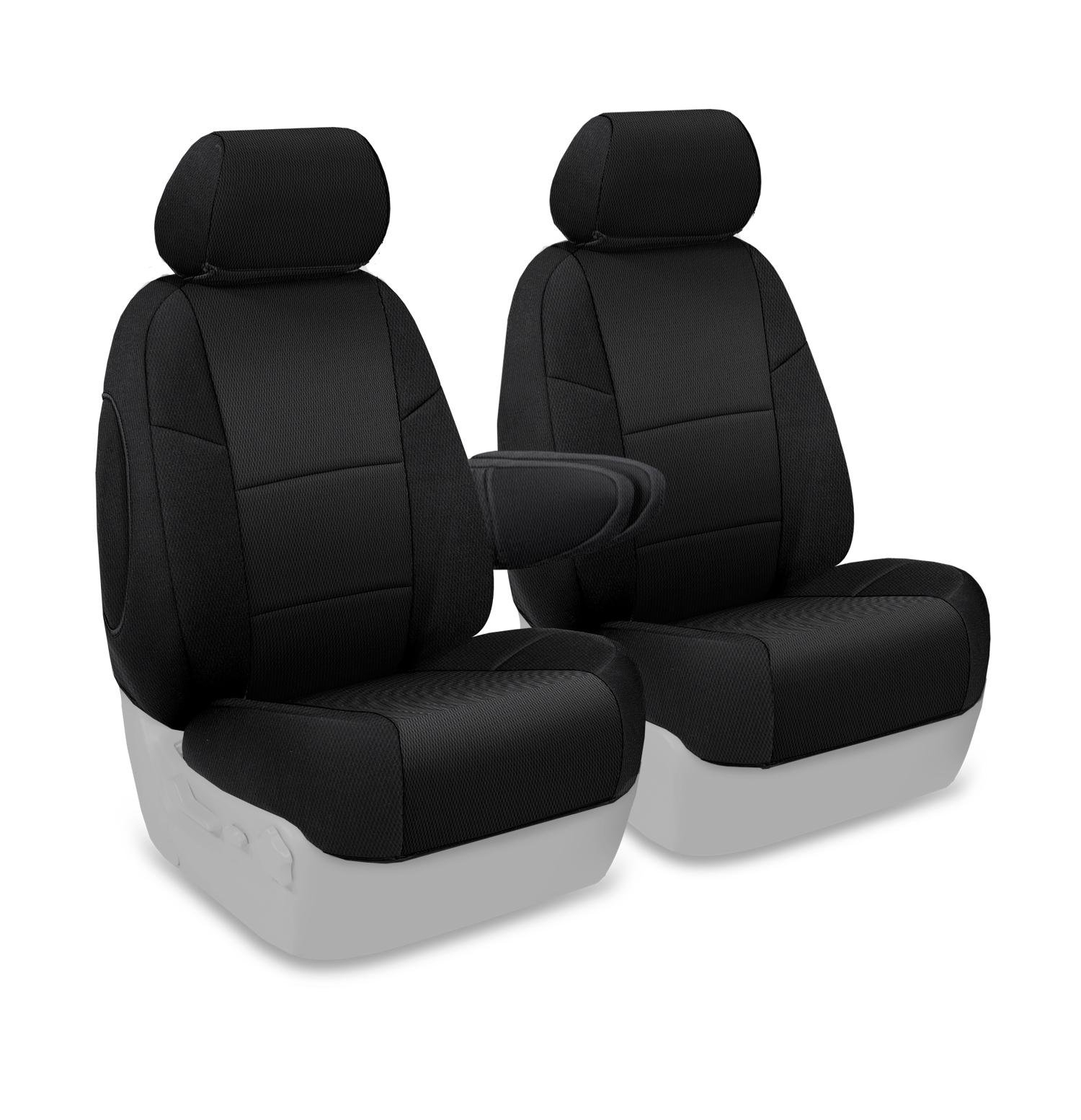 Coverking Custom Fit Front 50/50 Bucket Seat Cover for Select Saturn Vue Models - Spacermesh Solid (Black)