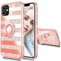 Maxdara Case for iPhone 11 Case Glitter Ring Kickstand Case for Girls Women with Bling Sparkle Diamond RhinestoneStand Holder Protective Case for iPhone 11 6.1 inches (Stripe Rosegold)