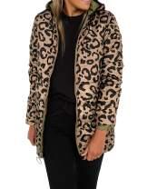 KIRUNDO 2020 Winter Women's Lightweight Jacket Water-Resistant Puffer Coat Zipped Up Leopard Outwear with Pockets