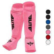 Elite Sports Muay Thai MMA Kickboxing shin Guards, Instep Guard Sparring Protective Leg shin Kick Pads for Kids and Adults