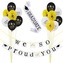2019 Graduation Party Decorations Kit – Pack of 17 | We Are So Proud of You Banner Decoration Set - No DIY Required| Black and Gold Graduation Latex Balloons| White Graduate Sash| Great for Grad/ Graduation Party Supplies 2019