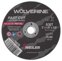 """Weiler 56076 3"""" x 1/8"""" Wolverine Type 1 Cutting Wheel, A36T, 3/8"""" A.H. (Pack of 100)"""