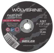 "Weiler 56076 3"" x 1/8"" Wolverine Type 1 Cutting Wheel, A36T, 3/8"" A.H. (Pack of 100)"