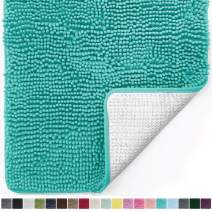 Gorilla Grip Original Luxury Chenille Bathroom Rug Mat, 48x24, Extra Soft and Absorbent Shaggy Rugs, Machine Wash and Dry, Perfect Plush Carpet Mats for Tub, Shower, and Bath Room, Turquoise
