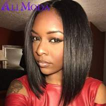 Ali Moda Short BoB Lace Frontal Wigs Bleached Knots Glueless 150% Density Brazilian Silky Straight Virgin Human Hair Lace Frontal Wigs Wavy With Baby Hair Nature Line 12 inch