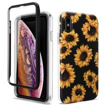 GOLINK Full Body Shockproof Protective Case with Built-in Screen Protector for 6.5 inch iPhone Xs Max(Sunflower)