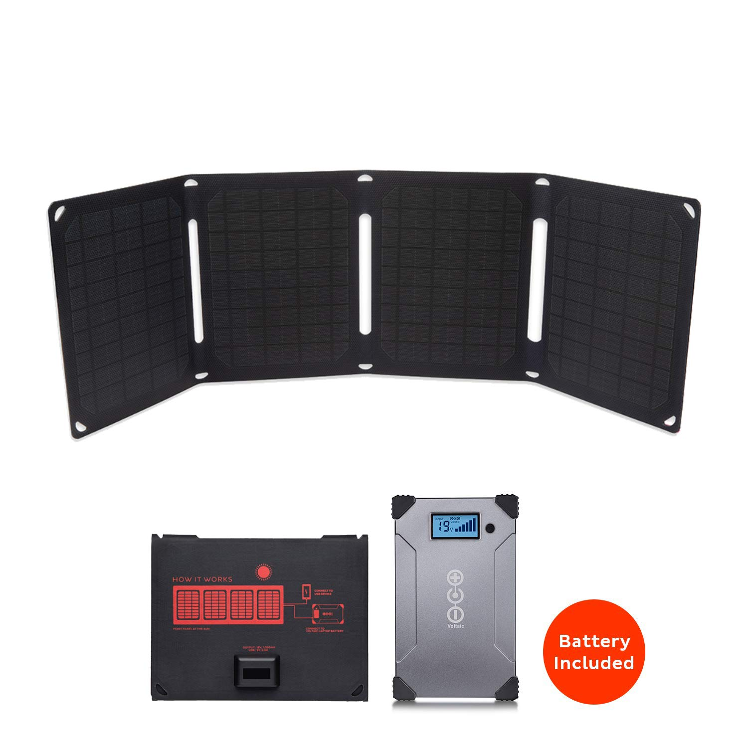 Voltaic Systems Arc 20 Watt Rapid Solar Laptop Charger, 24,000mAh   Includes a USB-C PD Battery Pack (Power Bank) and 2 Year Warranty   Powers Laptops Including MacBook