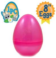 Jumbo 8-Inch Transparent Pink Glitter Easter Egg - The Perfect Size for Holding Toys, Candy Bars, and Stuffed Animals - Easy to Open, Tough to Break - Great As Party Favors and Easter Basket Stuffers
