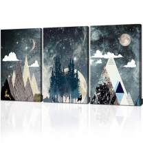 ARTSPIRIT Canvas Wall Art for Bedroom Abstract Landscape Painting Space Star Sky Picture Abstract Mountain Canvas Print for Office Home Decor 3 Panels