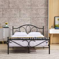 GreenForest Full Bed Frame with Headboard Metal Platform Bed No Box Spring Needed,Easy to Install,Black