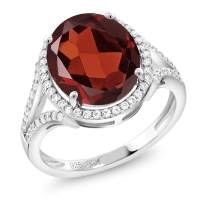 Gem Stone King Red Garnet 925 Sterling Silver Women's Ring (6.42 Ct Oval Gemstone Birthstone Available 5,6,7,8,9)