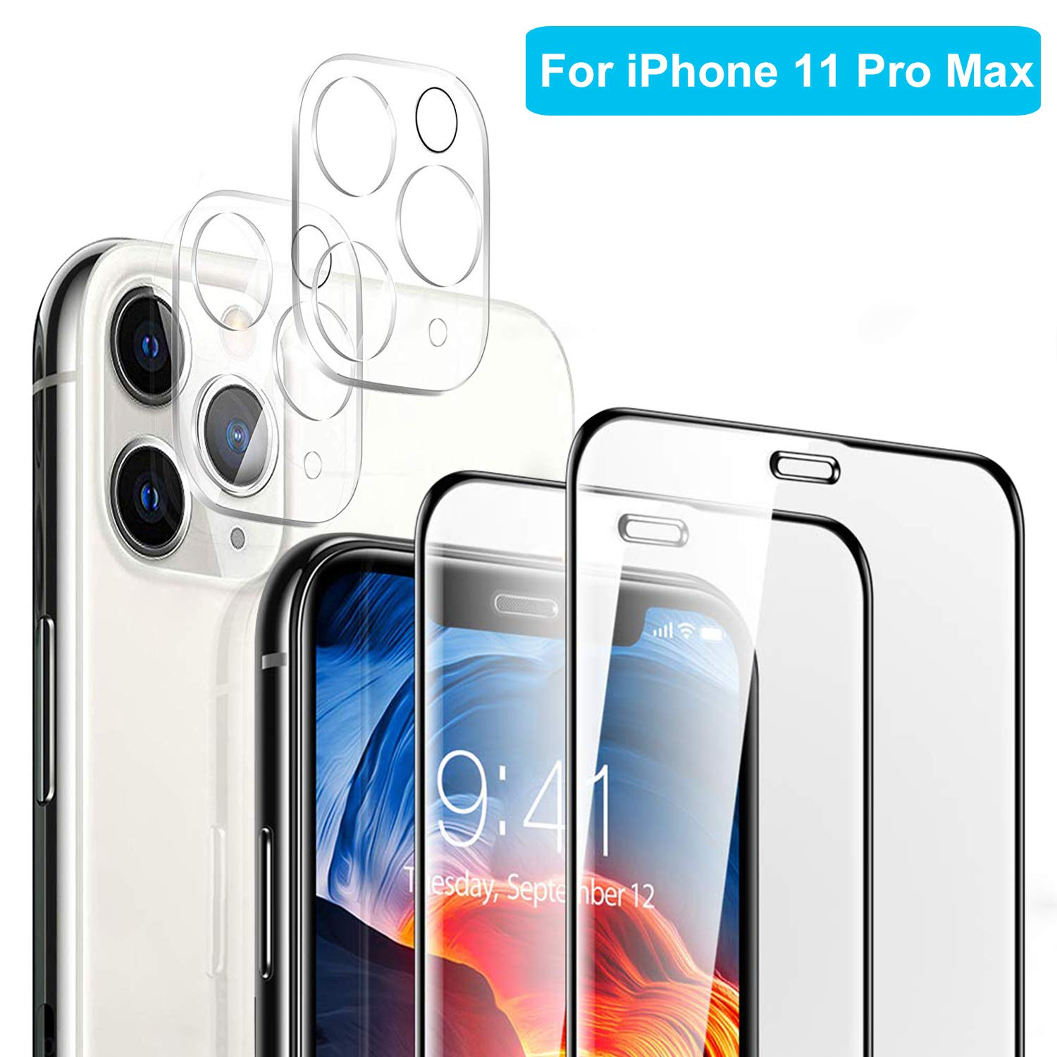 【4 Pack】 Tamoria 2 Pack iPhone 11 Pro Max Camera Lens Protector + 2 Pack Tempered Glass Full Coverage Screen Protector Edge to Edge Film Anti-Fingerprint Screen Cover for iPhone 11 Pro Max 6.5''