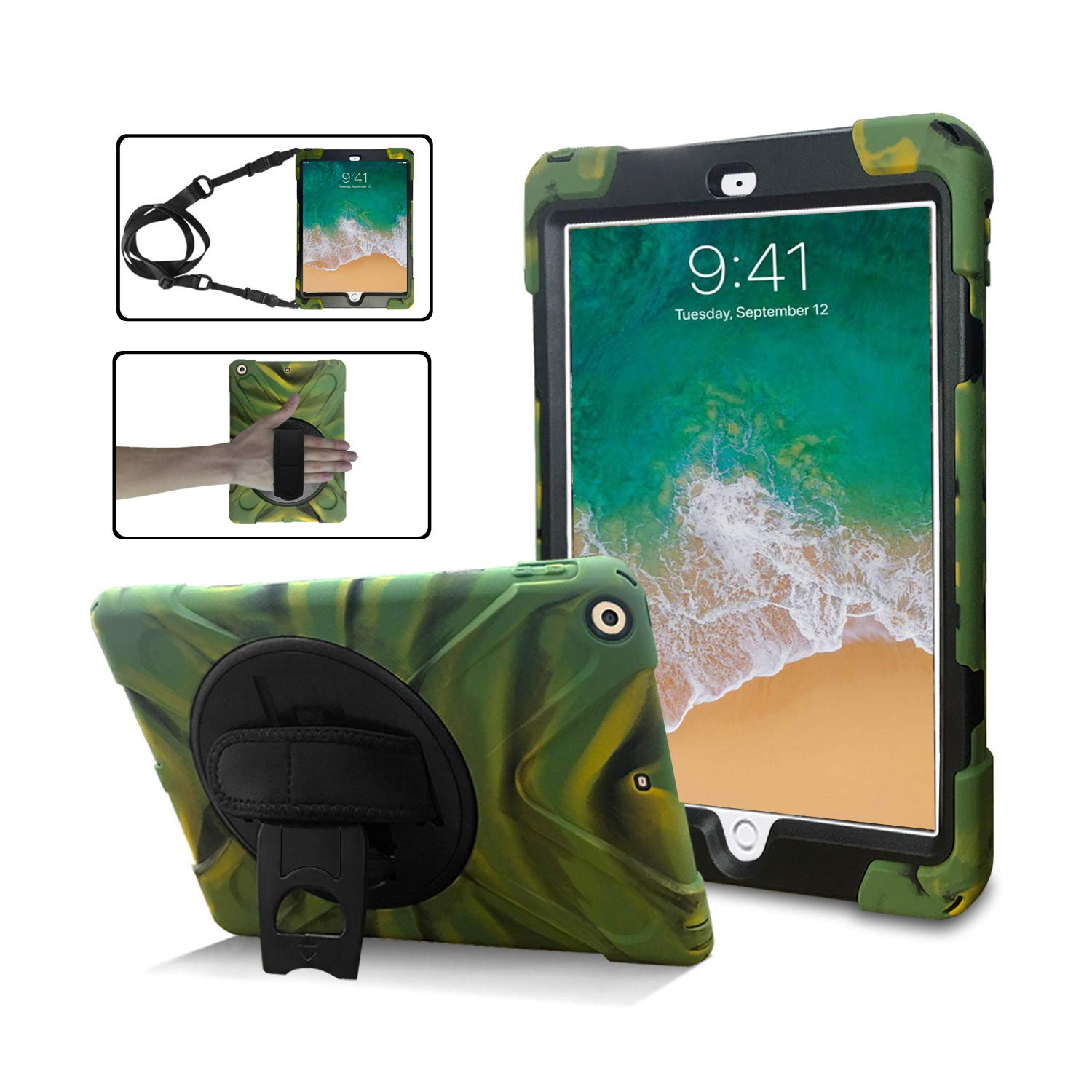 iPad 6th/5th Generation Cases with Strap,TSQ Heavy Duty Shockproof Durable Hard Rugged Protective Case with Handle Hand Strap/Stand/Shoulder Strap for iPad 9.7 Inch A1893/A1954/A1822/A1823,Camouflage