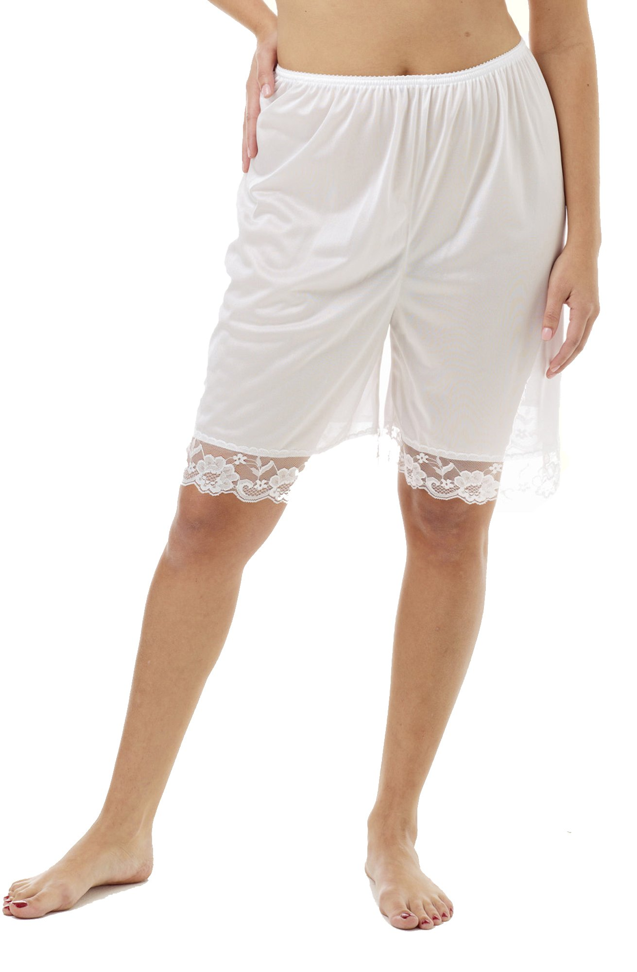 Underworks Pettipants Nylon Culotte Slip Bloomers Split Skirt 9-inch Inseam 3-Pack