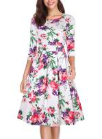 oten Women Vintage Floral Scoop Neck Swing A Line Cocktail Party Dress 3/4 Sleeve with Pockets