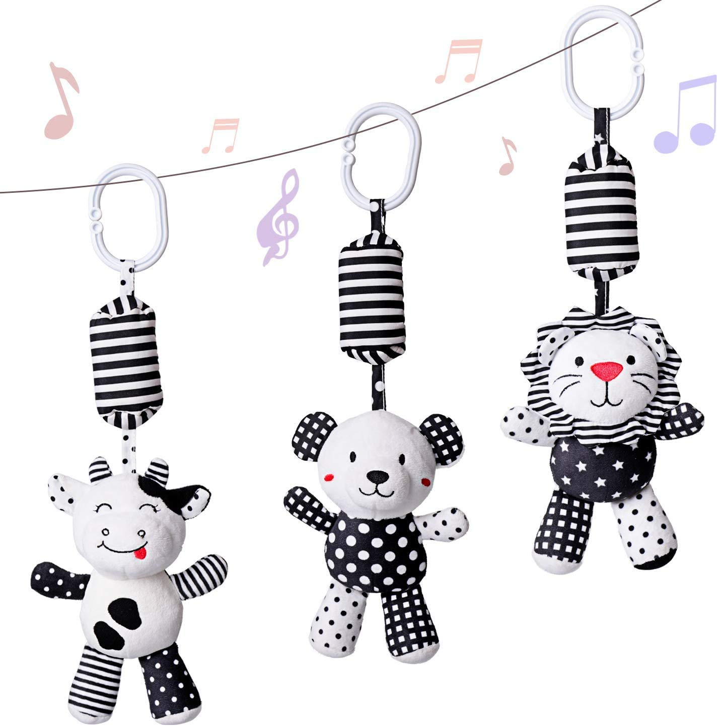 rolimate Baby Toy Cartoon Animal Stuffed Hanging Rattle Toys, Baby Bed Crib Car Seat Travel Stroller Soft Plush Toys with Wind Chimes, Best Birthday Gift for Newborn 0-18 Month (Lion, Cow & Panda)