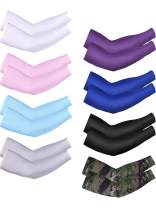 Bememo 8 Pairs Unisex UV Sun Protection Arm Sleeves Ice Silk Arm Cooling Sleeves (Color Set 7)