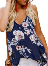 BLENCOT Women's Floral Print Button Down V Neck Strappy Tank Tops Loose Casual Sleeveless Shirts Blouses