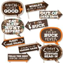 Funny Gone Hunting - Deer Hunting Camo Baby Shower or Birthday Party Photo Booth Props Kit - 10 Piece
