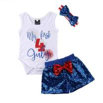 Toddler Baby Boys Girls 4 of July Outfits Sleeveless Tops + Red Sequins Shorts Short Sets Independent's Day 2Pcs