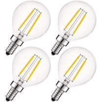 Luxrite 4W Vintage G16.5 LED Globe Light Bulbs Dimmable, 2700K Warm White, 400 Lumens, E12 LED Bulb 40W Equivalent, Clear Glass, Edison Filament LED Candelabra Bulb, UL Listed (4 Pack)