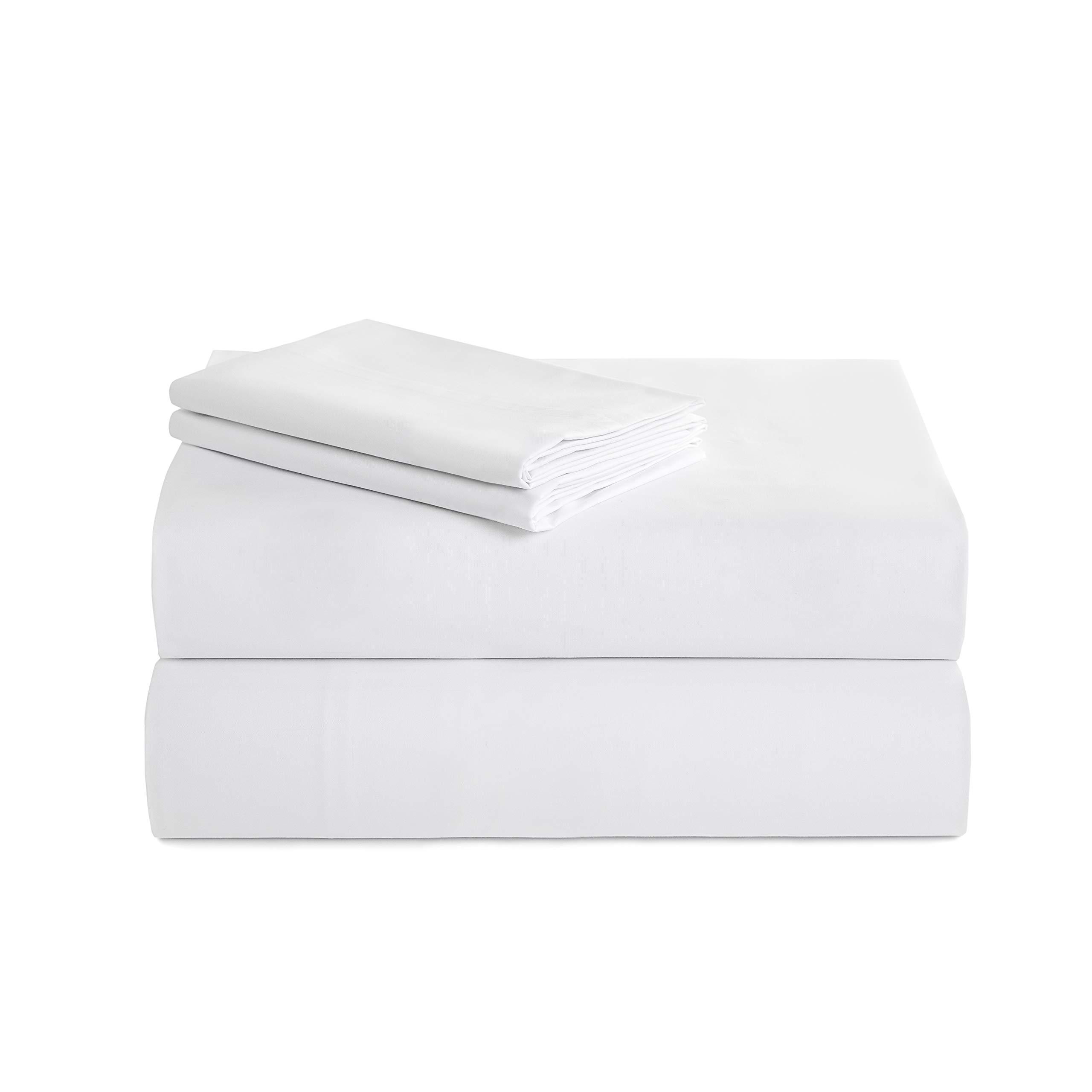 I.U Wake Up Luxury 300-Thread-Count Percale Peruvian Pima Cotton Twin Bed Sheet Set, White