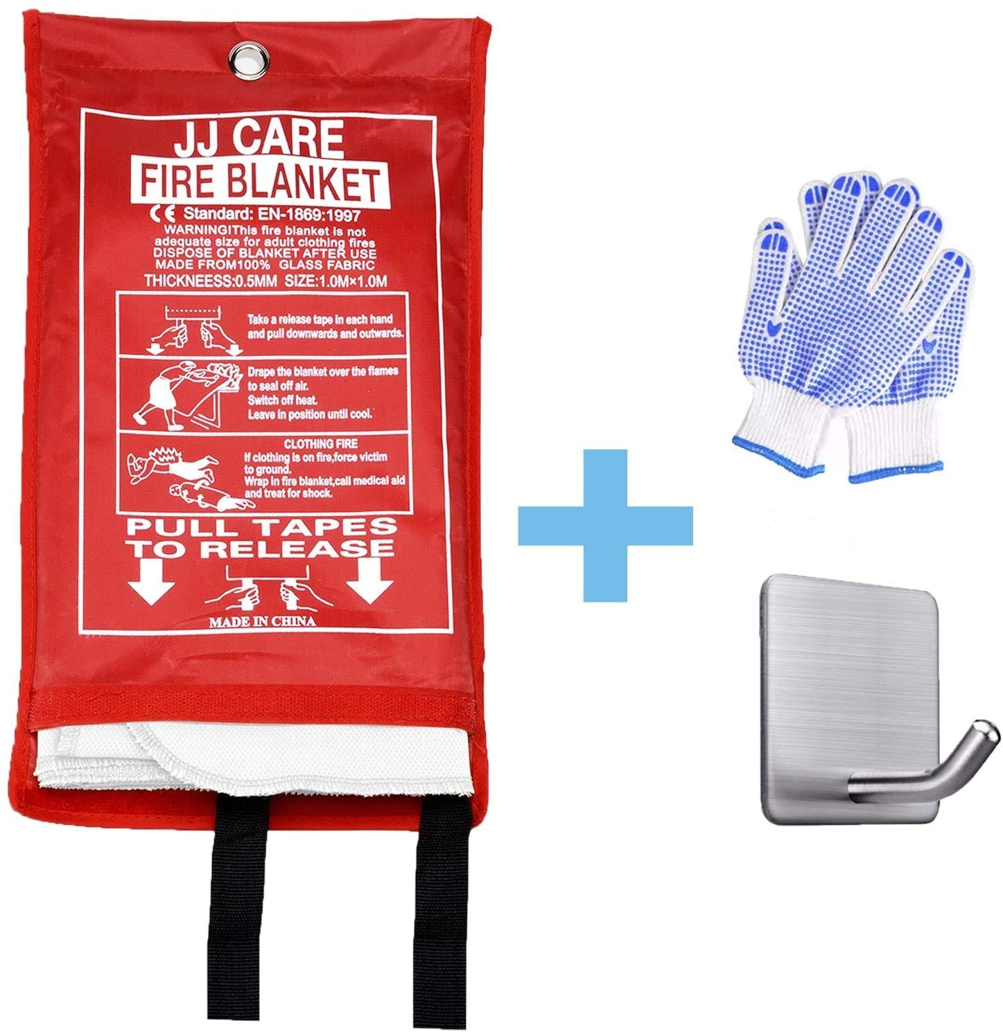 """JJ CARE Premium Fire Blanket (Extra Large) Fire Suppression Fire Fighting Blanket Fiberglass Cloth (79""""x79"""") Flame Retardant fire Safety Blanket Survival kit with Hook & Grip for Camping Kitchen & Car"""