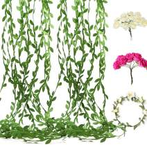 Artificial Vines Fake Leaves Ribbon 132FT with 96 pcs Artificial Rose Flowers Bonus 16 pcs Wreaths Garland,DIY Multicolor Flower Crown Floral Wreath Headband Garland,Party,Wedding,Crafts Decors