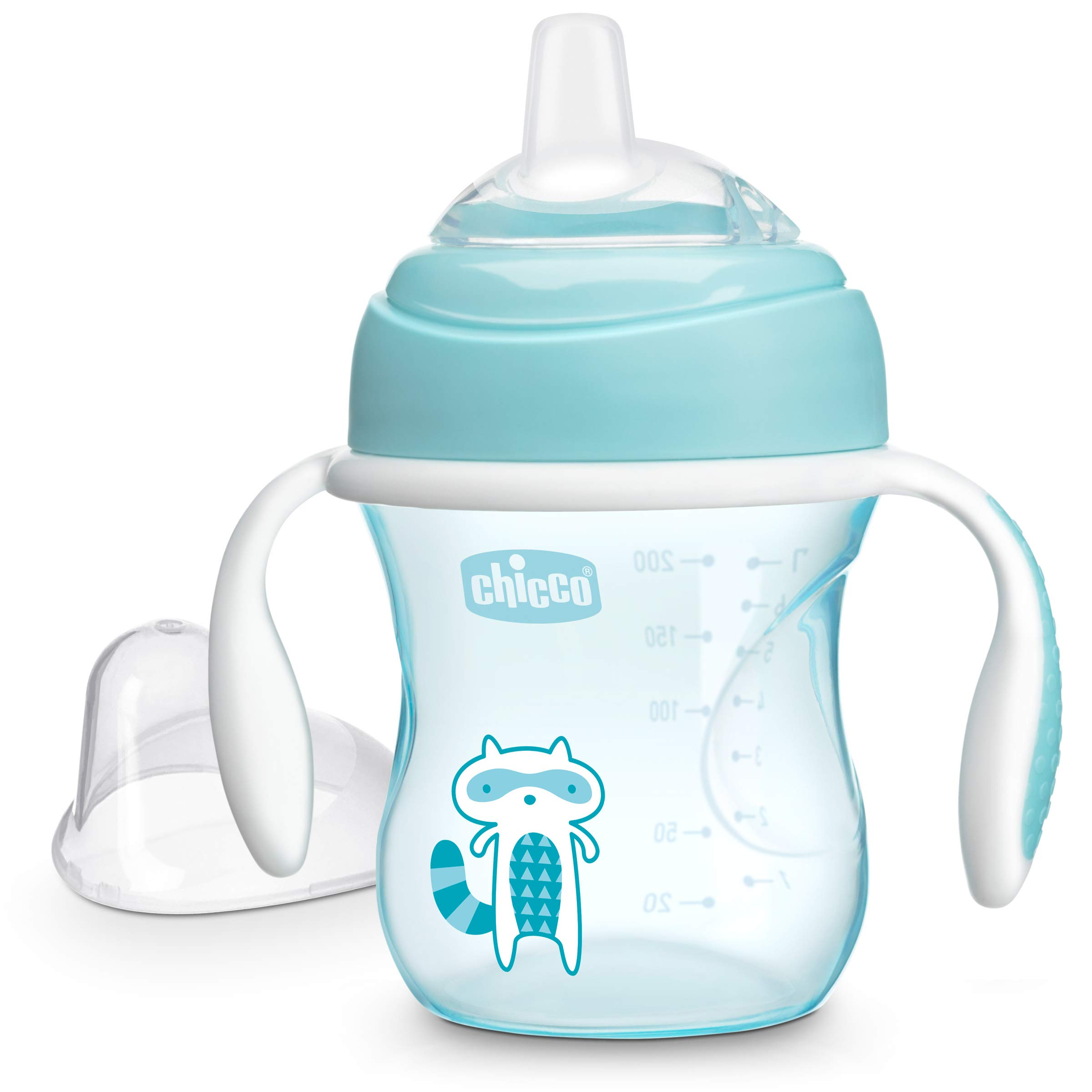 Chicco Soft Silicone Spout Spill Free Transition Baby Sippy Cup, Blue, 7 Ounce/4M+