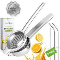 GreenOlive Lemon Lime Stainless Steel Squeezer Press – Large Heavy-Duty Manual Hand Held Citrus Juicer – Orange Juicer Extractor, Lime Squeezer with Bonus Stainless Steel Straws