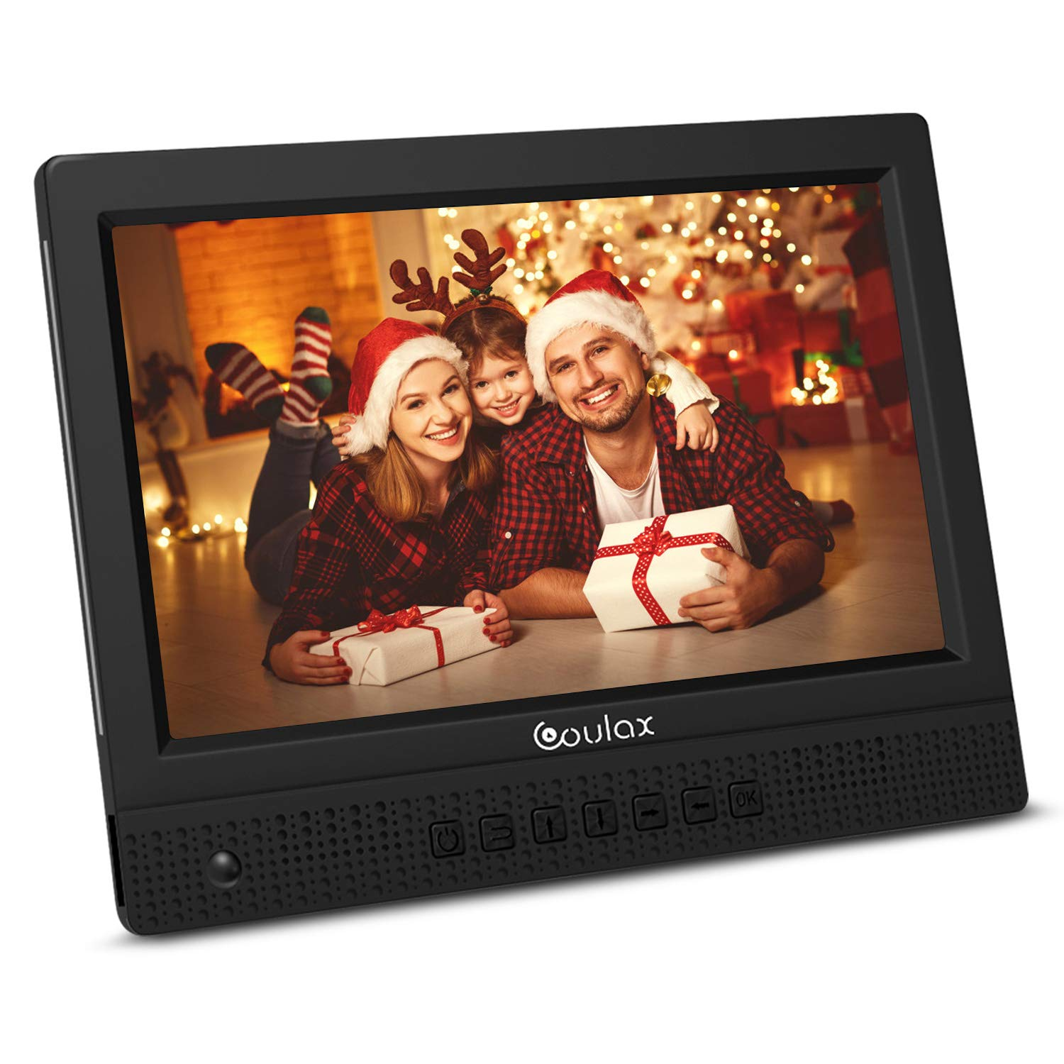 COULAX 10 inch Digital Photo Frame with HD IPS Display,Remote Control,360 Degree Rotate,Motion Sensor,Support Calendar Slideshow Mode Video Play Background Music