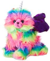KITCHI - KITTEN Rainbow Unicorn Butterfly Kitten Stuffed Toy with Dark Purple Wings Plush Also Available with Green, Pink, Red, Orange or Light Purple Wings