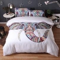 "JOXJOZ 3 Piece Bohemian Elephant Mandala Pattern Bedding Printed Boho Duvet Cover Set with 2 Pillow Shams (Full (80""x90""), D)"