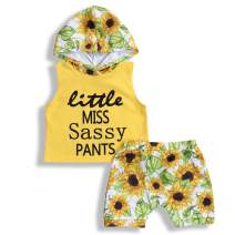YOUNGER TREE 2PCS Newborn Infant Baby Girls Summer Short Set Sleeveless Hoodie + Sunflowers Pants Set 0-3T Clothes Outfits