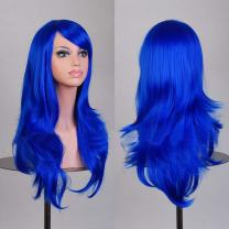 Wigood 28 Inch Blue Long Wavy Curly Hair Heat Resistant Wig with Free Wig Cap and Comb for Women's Cosplay Halloween Party Costume