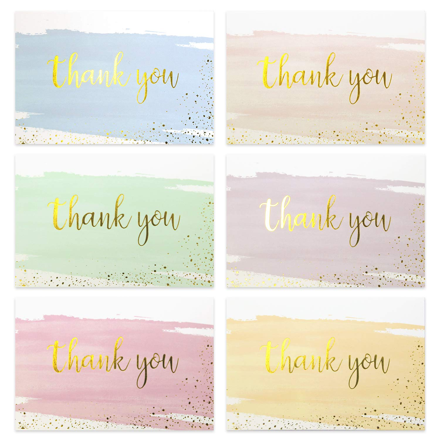 Thank You Cards, TODWALK 48 (6 Colors, 8 of Each) Thanksgiving Day Painted Watercolor Note Cards with Envelopes, Blank Greeting Cards for All Occasion, Birthdays, Weddings, Baby Shower, Bridal Shower