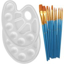 Heartybay 10Pieces Round Pointed Tip Nylon Hair Brush Set with 2 Piece Paint Tray Palette