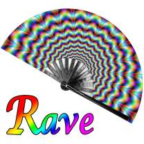 OMyTea Large Rave Clack Folding Hand Fan for Men/Women - Chinese Japanese Bamboo Handheld Fan - for EDM, Music Festival, Club, Event, Party, Dance, Performance, Decoration, Gift (Trippy)