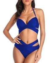 Wavely High Waisted Bikini Swimsuits for Women Halter Bandage Two Piece Bathing Suits Push Up Criss Cross Wrap Swimwear